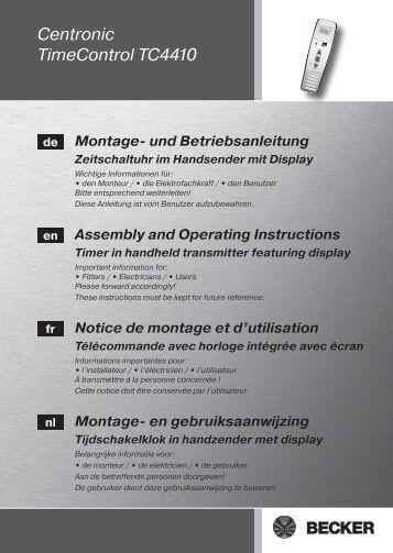 becker centronic timecontrol tc445 anleitung auf. Black Bedroom Furniture Sets. Home Design Ideas