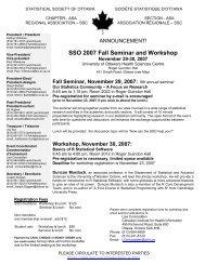 SSO 2007 Fall Seminar and Workshop - Société statistique du Canada