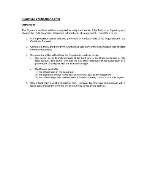Signature Verification Letter