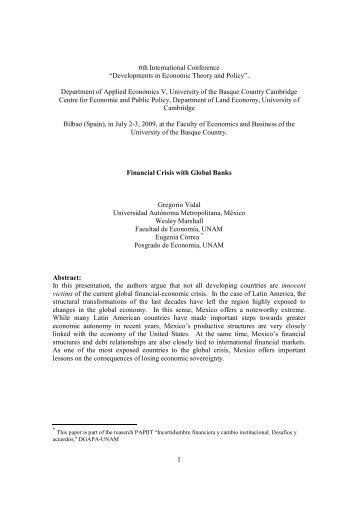 """""""Developments in Economic Theory and Policy"""". - Centro de Estudio ..."""