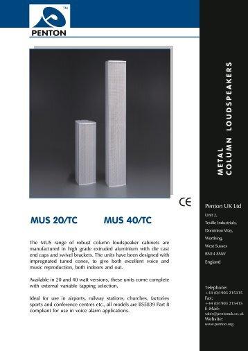 MUS 20/TC MUS 40/TC - Visono Media AB