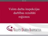 Valsts darba inspekcijas darbības rezultāti reģionos
