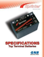 Sprinter® Top Terminal Batteries Specifications Section 22.70