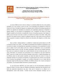 Discours d'Ibrahim Assane Mayaki, directeur ... - Fondation FARM