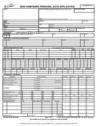 NEW HAMPSHIRE PERSONAL AUTO APPLICATION - ACORD Forms