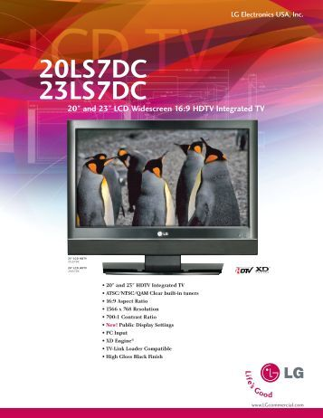 """20LS7DC 23LS7DC 20"""" and 23"""" LCD Widescreen ... - MediaNow.com"""