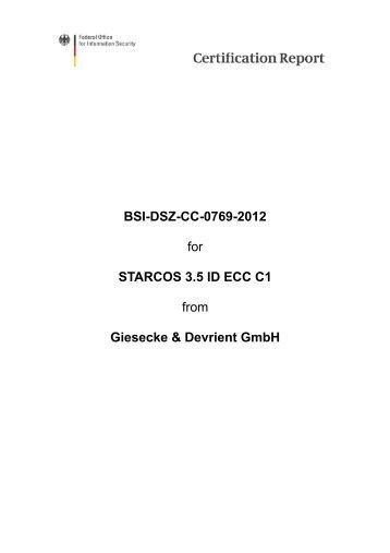 Certification Report BSI-DSZ-CC-0769-2012 - Bundesamt für ...