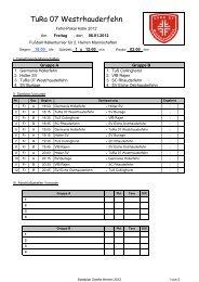 Spielplan Zweite Herren 2012 - Sportverein SV Eiche Ostrhauderfehn