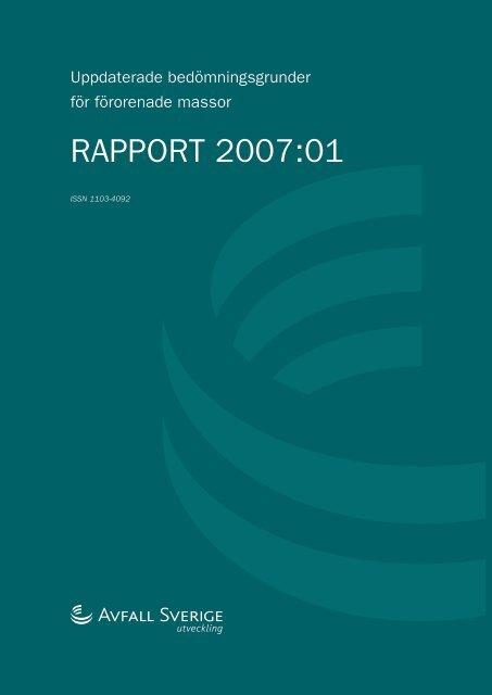 2007:01 Uppdaterade bedömningsgrunder för ... - Avfall Sverige