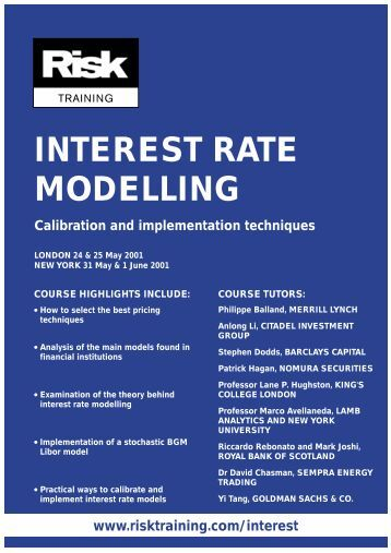 models for interest rate risk Interest rate risk is risk to the earnings or market value of a portfolio due to uncertain future interest rates discussions of interest rate risk can be confusing because there are two fundamentally different ways of approaching the topic.