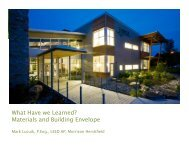 What Have we Learned? Materials and Building Envelope