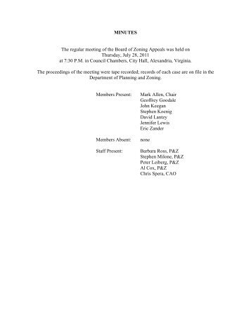 MINUTES The regular meeting of the Board of Zoning Appeals was ...