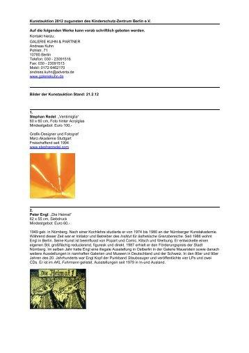 Vorab-Katalog Kunstauktion 2012 - Kinderschutz-Zentrum Berlin