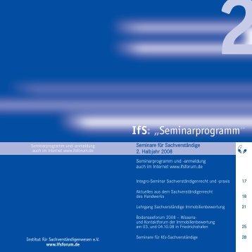 """IfS: """"Seminarprogramm"""" - Arbeitskreis Bausachverständige im BDB"""