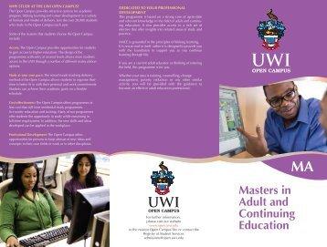 Masters In Adult Continuing Education - Open Campus - Uwi.edu