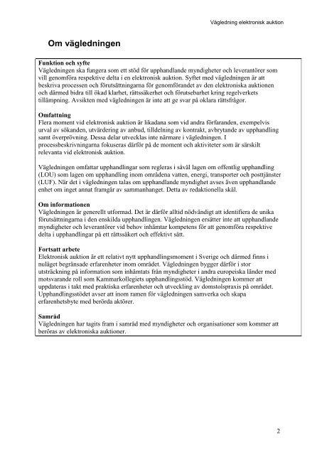 Kort om elektronisk auktion - Upphandlingsstöd.se