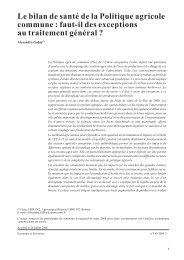 Le bilan de santé de la Politique agricole commune : faut-il des ...