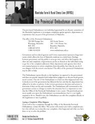 The Provincial Ombudsman and You - Manitoba Farm & Rural ...