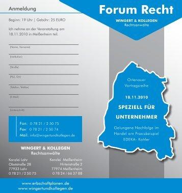 Flyer Forum Recht - 18. November 2010 - Erbschaft planen