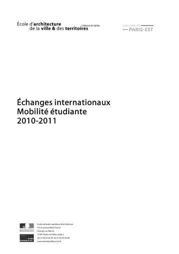 Échanges internationaux Mobilité étudiante 2010-2011 - École d ...
