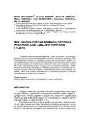 kolumnowa chromatografia cieczowa w rozdzielaniu i analizie ...