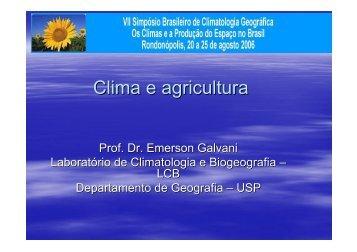 Clima e agricultura - Departamento de Geografia - USP