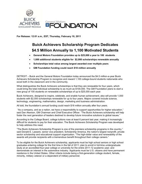 Buick Achievers Scholarship >> Buick Achievers Scholarship Program Dedicates 4 5 Million