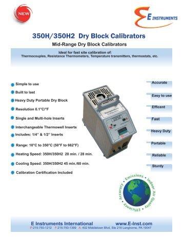 350H/350H2 Mid-Range Dry Block Calibrators - E Instruments