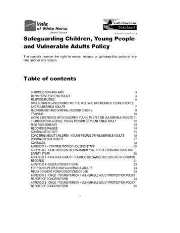 safeguarding children young people and vulnerable adults policy