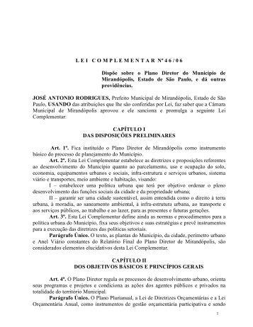 Plano Diretor - Mirandopolis.sp.gov.br