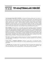 T A D - Tıp Araştırmaları Dergisi