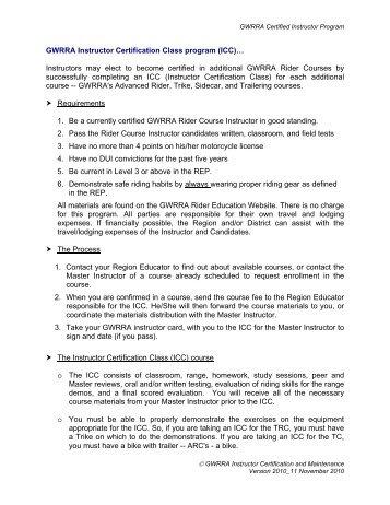 GWRRA Instructor Certification Class program (ICC ... - Argwrra.org