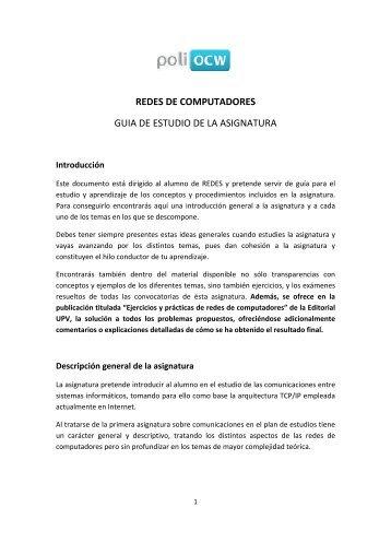 REDES DE COMPUTADORES GUIA DE ... - PoliformaT - UPV