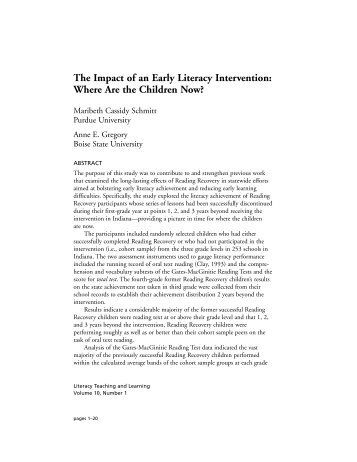 The Impact of an Early Literacy Intervention ... - Purdue University