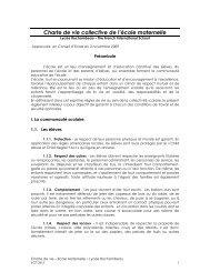 Charte de vie collective de l'école maternelle - Lycée Rochambeau