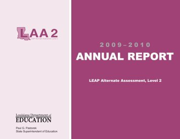 ANNUAL REPORT - Louisiana Department of Education