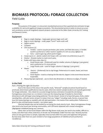 Forage sampling protocol - the GIS TReC at ISU - Idaho State ...