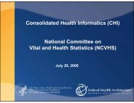 Consolidated Health Informatics (CHI) National Committee on Vital ...