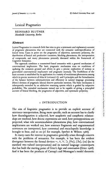 Lexical Pragmatics - Journal of Semantics