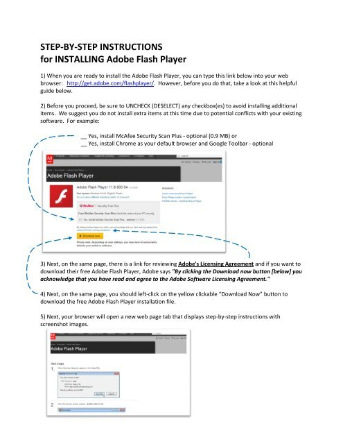 STEP-BY-STEP INSTRUCTIONS for INSTALLING Adobe Flash Player
