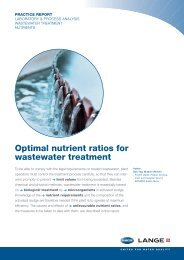 Optimal nutrient ratios for wastewater treatment - HACH LANGE