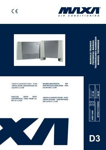 Technical manual maxa fan coils hwf-Hwi