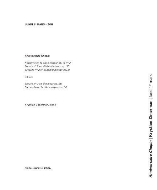 Anniv ersaire Chopin | Kry stian Zimerman | lundi 1 mars - Salle Pleyel