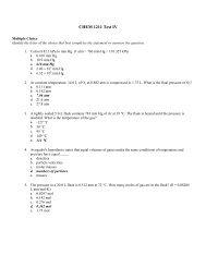 CHEM 1211 Test IV - Valdosta State University