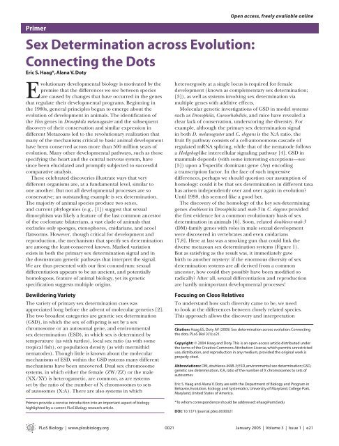 Sex Determination across Evolution: Connecting the Dots