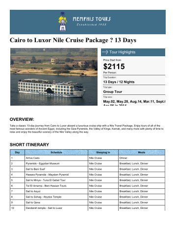 Cairo to Luxor Nile Cruise Package ? 13 Days - Memphis Tours