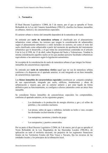 El Real Decreto Legislativo 1/2004, de 5 de marzo, por el ... - Catastro