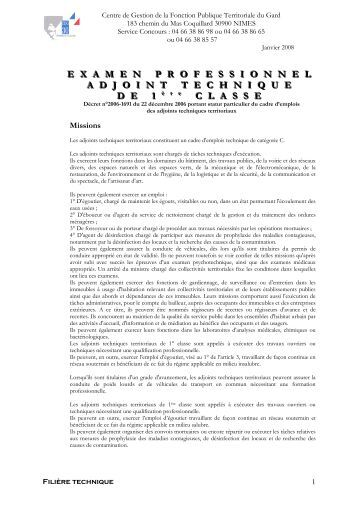 Adjoint technique 1 re classe examen professionnel - Grille adjoint technique principal 1ere classe ...