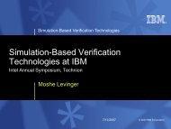 Simulation-Based Verification Technologies at IBM - WorkShop