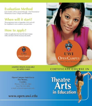Arts Education Brochure - Open Campus - Uwi.edu